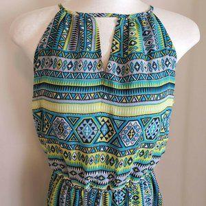 Tacera Large Halter Maxi Dress Blue Green Poly NEW